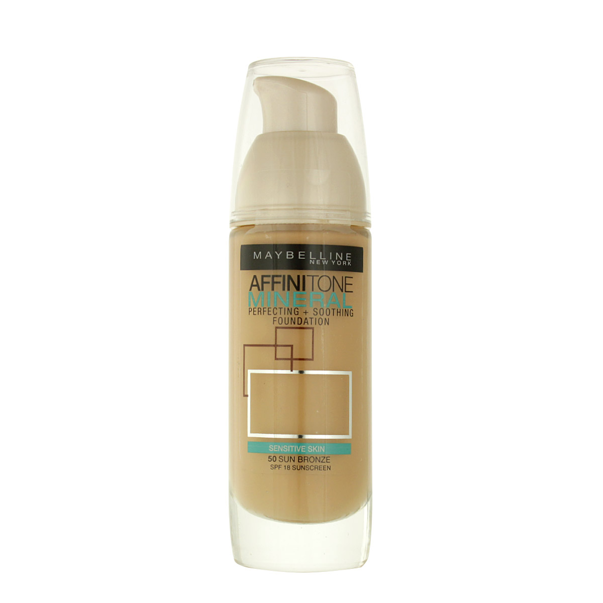 Maybelline Affinitone Mineral Perfecting + Soothing Foundation SPF 18 (50 Sun Bronze) 30 ml