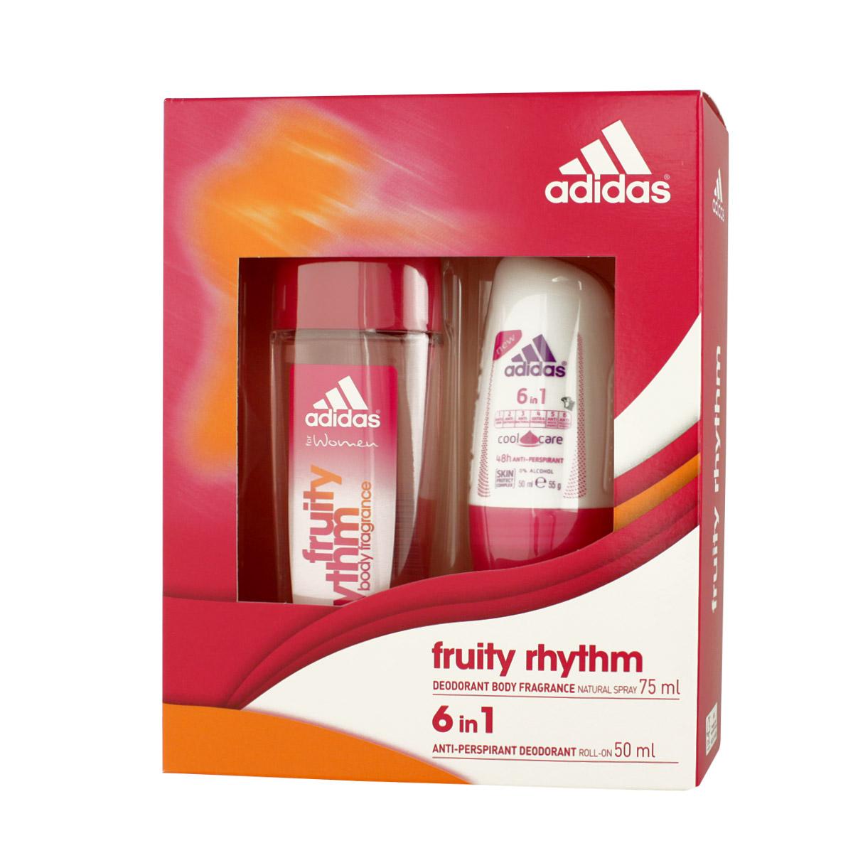 Adidas Fruity Rhythm DEO ve skle 75 ml + 6in1 Anti-perspirant Roll-on 50 ml