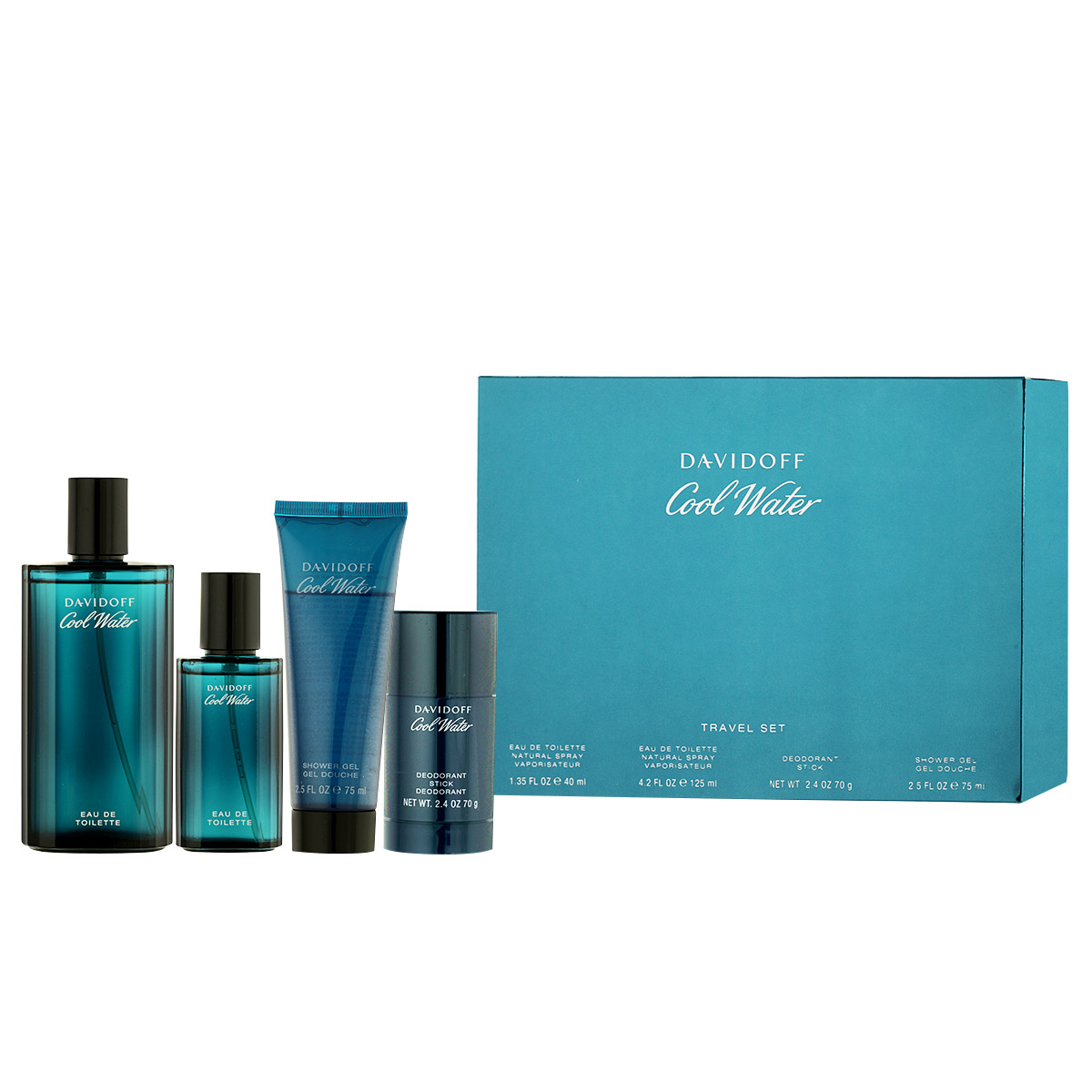 Davidoff Cool Water for Men EDT 125 ml + EDT 40 ml + SG 75 ml M