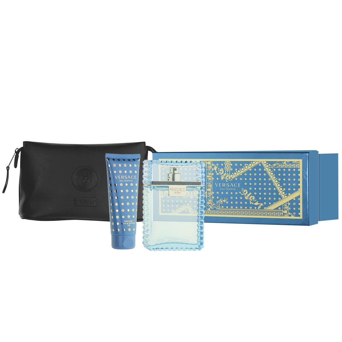 Versace Man Eau Fraîche EDT 100 ml + SG 100 ml + černá kosmetická taška M